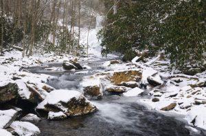 Mountain stream at Giles County Cascades; winter