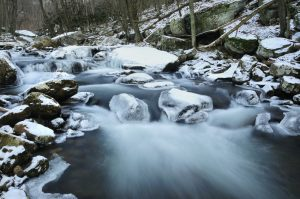 Mountain stream at Giles County Cascades; winter